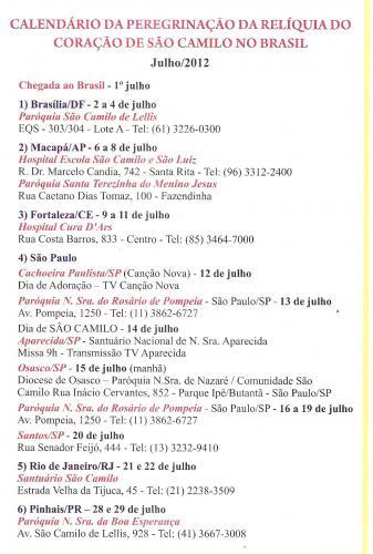 Calendario da Perigrinação da Relíquia de São Camilo